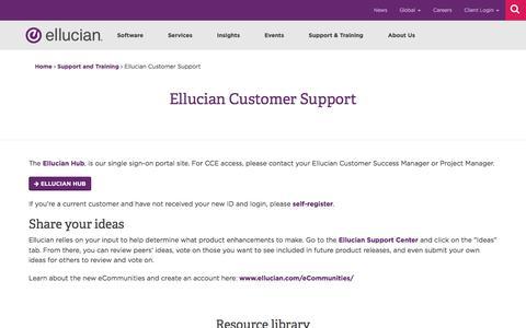 Screenshot of Support Page ellucian.com - Ellucian Customer Support | Ellucian - captured May 22, 2018