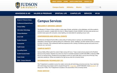 Screenshot of Services Page judsonu.edu - Judson University Christian College - captured Oct. 6, 2014