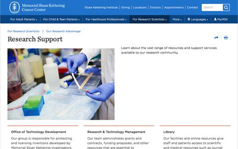 Screenshot of Support Page mskcc.org - Research Support | Memorial Sloan Kettering Cancer Center - captured Sept. 8, 2019