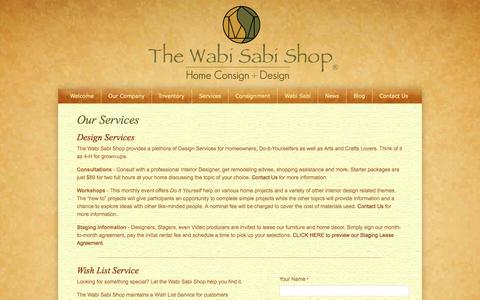 Screenshot of Services Page wabisabishop.com - Our Services | The Wabi Sabi Shop - captured Oct. 6, 2014
