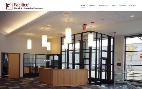 Screenshot of Home Page facilico.com - Facilico - Electrical & Controls serving Boston area - captured Aug. 3, 2015