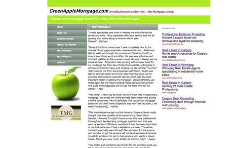 Screenshot of Testimonials Page greenapplemortgage.com - A TMG Company TMG - GreenAppleMortgage.com - Testimonials - captured Oct. 3, 2014