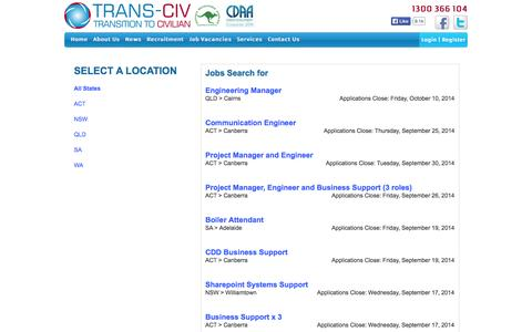 Screenshot of Jobs Page transciv.com.au - Trans-Civ - Transition Your Career from Defence to Civilian - captured Oct. 1, 2014