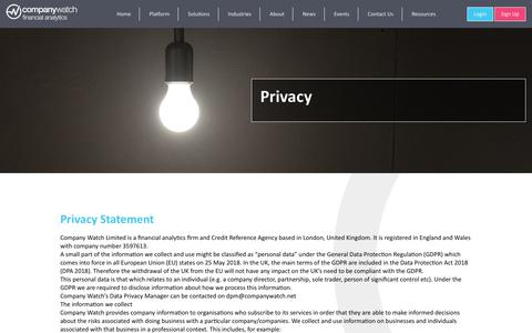 Screenshot of Privacy Page companywatch.net - Privacy - Company Watch - captured Nov. 5, 2018