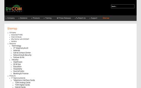 Screenshot of Site Map Page datavoiz.com - Sitemap - DVCOM Technology - captured Feb. 8, 2016