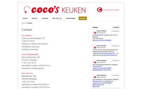 Screenshot of Contact Page cocoskeuken.nl - Contact | Coco's KeukenCoco's Keuken - captured Sept. 30, 2014
