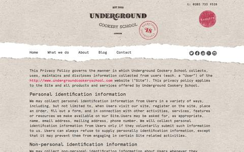 Screenshot of Privacy Page undergroundcookeryschool.com - Privacy Policy - Underground Cookery School - captured Feb. 26, 2016