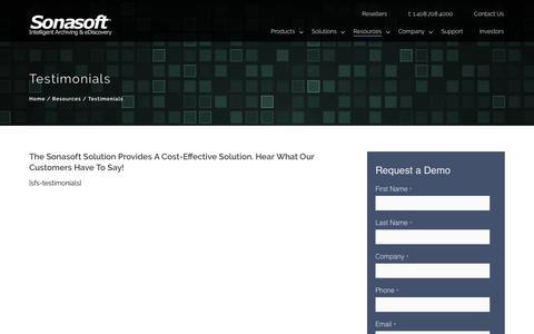 Screenshot of Testimonials Page sonasoft.com - Testimonials – Email Archiving & eDiscovery Solutions - captured June 27, 2017