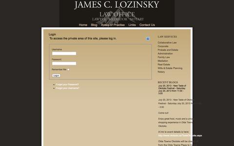 Screenshot of Login Page jcl-law.ca - Login | James C Lozinsky Law Firm - Okotoks - Turner Valley - captured Oct. 6, 2014