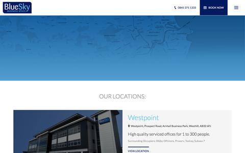 Screenshot of Locations Page blueskybs.com - Serviced Offices In Aberdeen & Westhill | BlueSky - captured Feb. 7, 2016