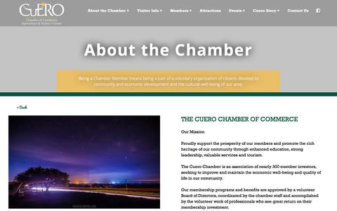 Screenshot of About Page cuero.org - About the Chamber - Cuero Chamber of Commerce - captured Jan. 28, 2018