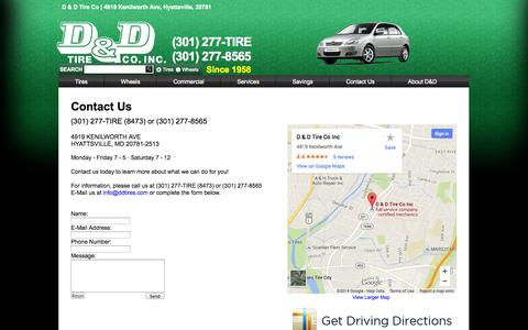 Screenshot of Contact Page ddtires.com - Contact D & D Tire Co. in Hyattsville MD - captured Oct. 2, 2014