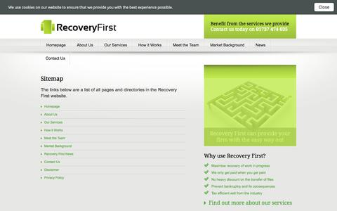 Screenshot of Site Map Page recoveryfirst.co.uk - Website Sitemap for Recovery First - captured Oct. 9, 2014
