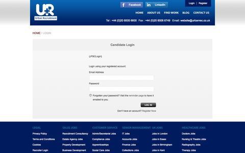 Screenshot of Login Page urbanrec.co.uk - Login - Urban Recruitment Group - Urban Recruitment Group - captured Oct. 7, 2014