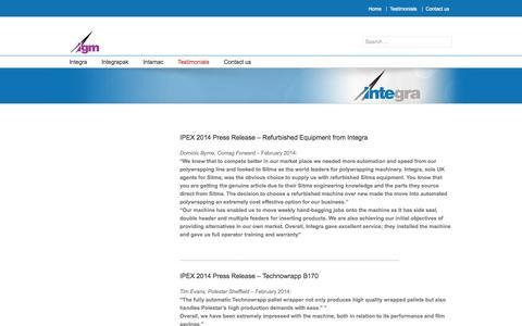 Screenshot of Testimonials Page igm-group.co.uk - Testimonials | IGM - captured Oct. 6, 2014