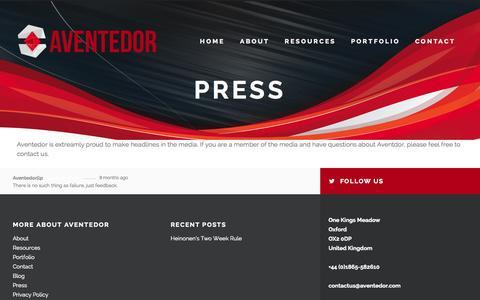 Screenshot of Press Page aventedor.com - Press - AventedorAventedor - captured Oct. 8, 2014