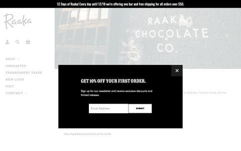 Screenshot of Contact Page raakachocolate.com - Contact Us – Raaka Chocolate - captured Dec. 11, 2018