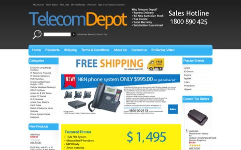 Screenshot of Home Page telecomdepot.com.au - Telecom Depot sells an extensive range of Engenius Long Range Cordless, Aristel Phone Systems, MyPBX IP Systems and Uninterruptible Power Supplies - captured Oct. 6, 2014