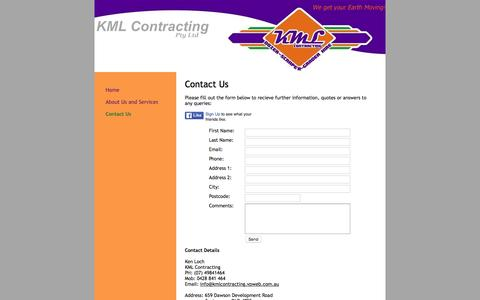 Screenshot of Contact Page kmlcontractingqld.com - KML Contracting - Contact Us - captured Feb. 12, 2016