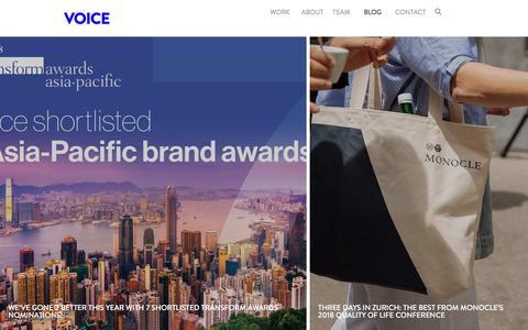 Screenshot of Blog voicebrandagency.com - Voice | Specialist Brand Agency - captured Sept. 21, 2018