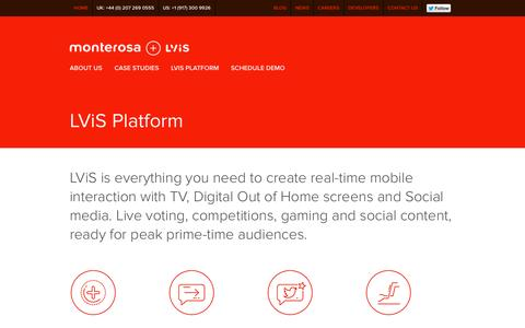 Screenshot of Developers Page monterosa.co.uk - LViS Platform for Real-time interaction, Second Screen, Social TV and Play along / Monterosa + LViS - captured Oct. 26, 2014