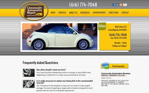 Screenshot of FAQ Page communityautomotive.com - FAQ | Auto Repair Grand Rapids, MI | Community Automotive Repair - captured Oct. 8, 2014
