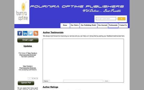 Screenshot of Testimonials Page fourniraoptime.org - Testimonials - captured Oct. 6, 2014