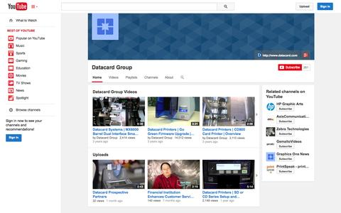 Screenshot of YouTube Page youtube.com - Datacard Group  - YouTube - captured Oct. 23, 2014