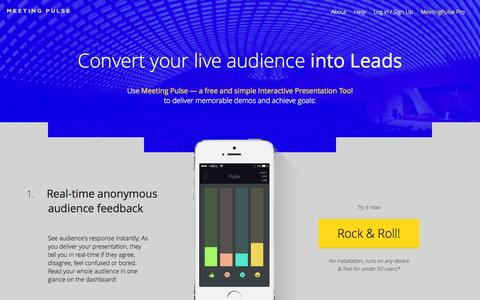 Screenshot of Home Page meetingpulse.net - MeetingPulse - Free and simple Real-Time Audience Interaction and Lead generation tool. - captured Oct. 6, 2014