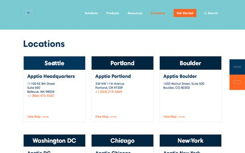 Screenshot of Locations Page apptio.com - Locations | Apptio - captured Sept. 26, 2019