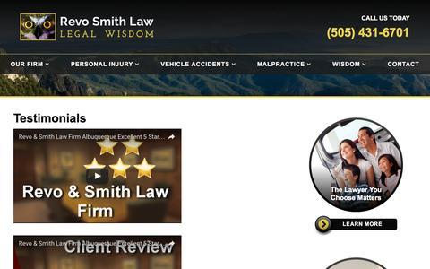 Screenshot of Testimonials Page revosmithlaw.com - Testimonials   Revo Smith Law - Albuquerque, NM - Injury Attorneys - captured Dec. 19, 2016