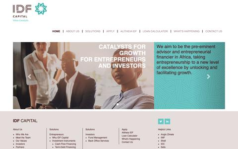Screenshot of Home Page idf.co.za - Home - IDF Capital - captured Oct. 1, 2018