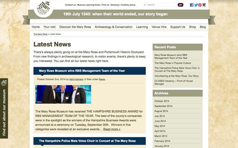 Screenshot of Press Page maryrose.org - Latest News - The Mary Rose - captured Oct. 6, 2014
