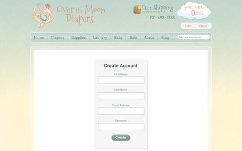 Screenshot of Signup Page overthemoondiapers.com - Create Account - captured Sept. 19, 2014