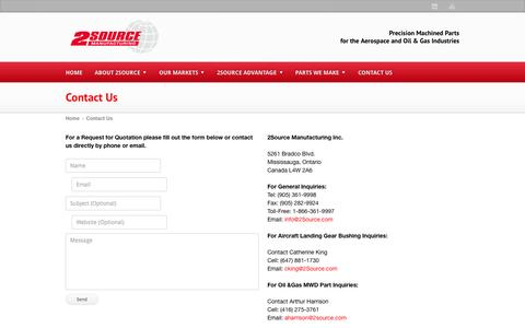 Screenshot of Contact Page 2source.com - Contacting 2Source Manufacturing for aircraft landing gear, mwd parts - captured Oct. 27, 2014