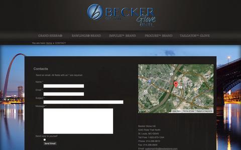 Screenshot of Contact Page beckerglove.com - CONTACT - captured Oct. 5, 2014
