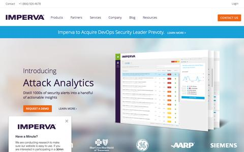 Screenshot of Home Page imperva.com - Cyber Security Leader | Imperva, Inc. - captured Aug. 10, 2018