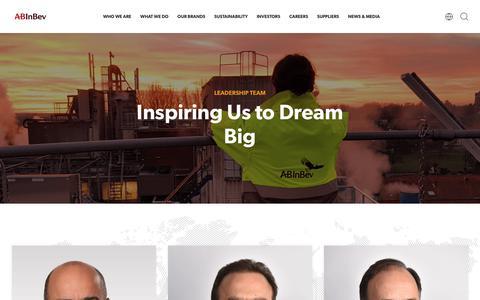 Screenshot of Team Page ab-inbev.com - Our Leaders | AB InBev - captured Sept. 3, 2018
