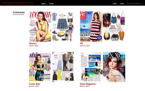 Screenshot of Press Page maroonvelvet.com - MaroonVelvet - Press - captured Oct. 6, 2014
