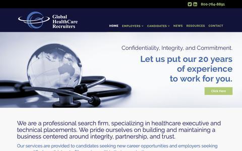 Screenshot of Home Page ghcr.com - Global HealthCare Recruiters - Global HealthCare Recruiters - captured Sept. 28, 2018