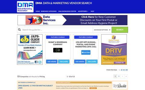 Screenshot of Pricing Page dataandmarketingsearch.com - Pricing - Data & Marketing Vendor Search - captured June 26, 2017
