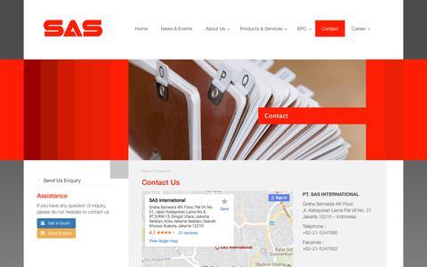 Screenshot of Contact Page sasinternasional.com - Contact Us | SAS International - captured July 11, 2017