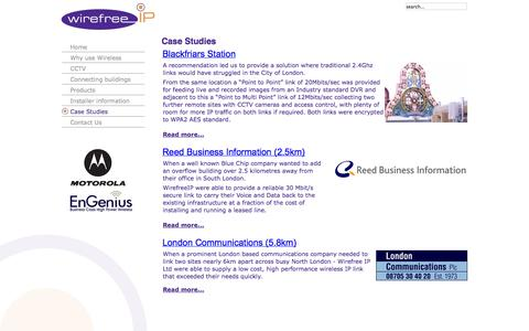 Screenshot of Case Studies Page wirefreeip.com - Case Studies - captured Oct. 7, 2014