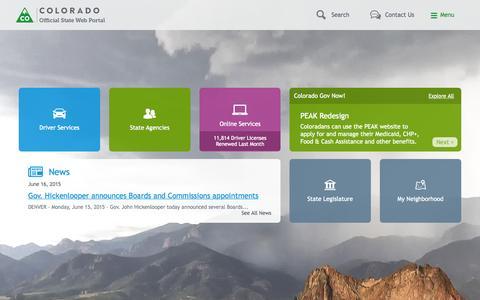 Screenshot of Home Page colorado.gov - Home | Colorado.gov - captured June 17, 2015