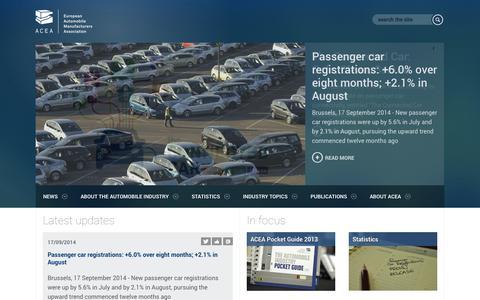Screenshot of Home Page acea.be - ACEA - European Automobile Manufacturer's Association - captured Sept. 23, 2014