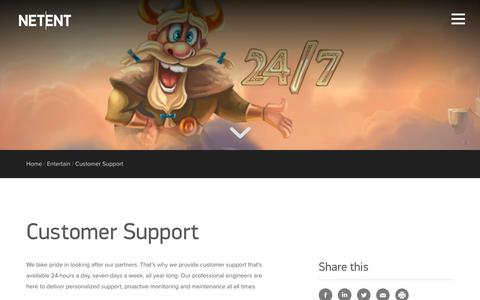 Screenshot of Support Page netent.com - Customer Support | NetEnt | Better Gaming - captured March 29, 2016