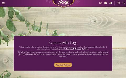 Screenshot of Jobs Page yogiproducts.com - Careers - captured Sept. 12, 2018