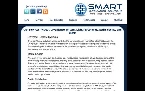 Screenshot of Services Page smartautomationsolutions.com - Video Surveillance System Chevy Chase | Services - captured July 23, 2016