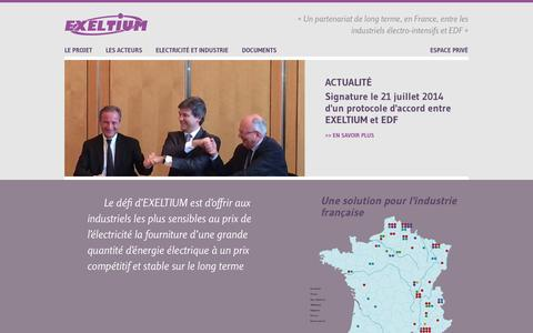 Screenshot of Home Page exeltium.com - Accueil | Exeltium - captured Sept. 30, 2014