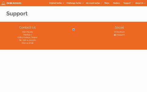 Screenshot of Support Page skimkayaks.com - Support - skimkayaks.com - captured Oct. 22, 2017